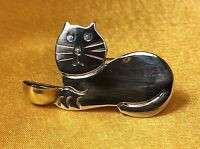 925 Fine Sterling Silver Taxco Mexico Cat Brooch Pin