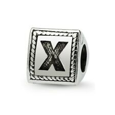 Letter X Triangle Block Bead .925 Sterling Silver Antiqued Reflection Beads