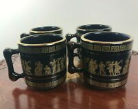 4 x Handmade Greek Mugs Decorated With 22 K Gold