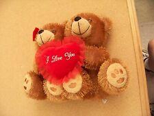"""pair of plush teddy bears with I Love You heart 9.5"""" tall each bear"""