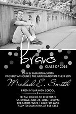 Graduation Bravo Invitation Announcement 10 Invitations with Photo Any Colors