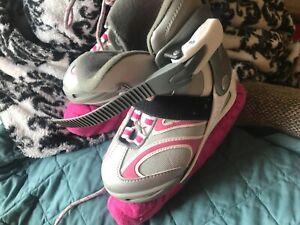 Bladerunner Dazzle Ice Skates Pink Grey Youth Size Adjustable US SIZE 1-4