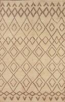 Geometric Earth-Tone Moroccan Oriental Hand-Knotted Modern Ivory Wool Rug 5'x8'