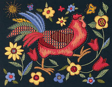 Crewel Embroidery Kit ~ Dimensions Flowers Country Rooster on Black #1543