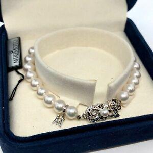"Mikimoto 6-6.5mm While Gold & Pearl Strand Bracelet 7"""