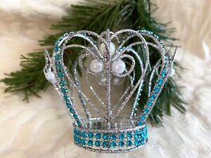 Silver Crown Pearls Glitter Aqua Crystals Wire Christmas Tree Monarch Princess