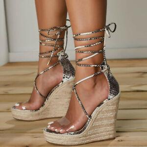 Womens Cross Strap Sandals Wedge Heels Roman Snake Print Lace Up Platform Shoes