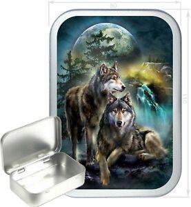 Wolf Stream Gift Box,150ml Silver Hinged Tin, Tobacco Tin, Storage Tin