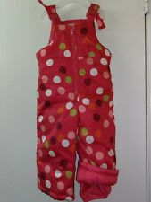 OshKosh B'gosh Girls Size 18 M Bib Overall Lined Snow Winter Baby Pants Pink Euc