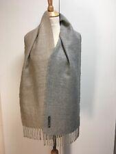 SOL baby alpaca grey beige scarf fringed woven unisex