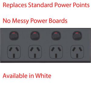 Quad Power Point 4 Gang Socket Outlet GPO Black 10AMP AU Compliance