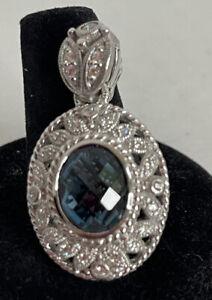 NWT Retired Judith Ripka Sterling 4.80ct Diamonique & London Blue Topaz Enhancer