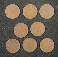 JAPAN Copper Coins A Lot of 8 Pieces 1918-1935 Used