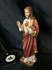 "Sacred Heart of Jesus Hand Carved Painted Figurine 6"" Italy"