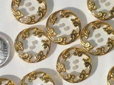 """LOVELY Set 11 FLORAL Gold METAL & Clear Vintage New Buttons 7/8"""""""
