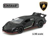 "Brand New 5"" Kinsmart Lamborghini Veneno Diecast Model Toy Car 1:36 Matte Black"