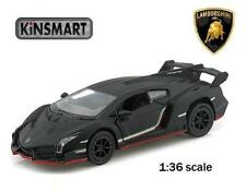 "Brand New 5"" Kinsmart Lamborghini Veneno Diecast Model Toy Car 1:36 Matte Black"