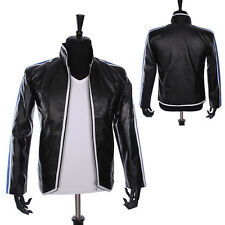 Rare MJ Heal The World Black Leather Jacket Michael Jackson Anti-war Punk Style