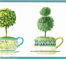 Green Ivy Leaf Topiary Peacock Tea Cup Saucer Kitchen Modern Wall paper Border
