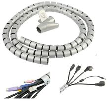 2 Meter Grey PVC Cable Tidy Kit PC TV Wire Organizer Wrap Tool for Office Home