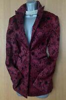 Karen Millen UK 10 Burgundy Satin & Black Velvet Floral Print Jacket Blazer EU38