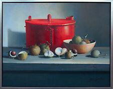 Henri Gautier *1955 Hyper-Realismus  Küche Kastanien Topf Öl/Leinwand 50 x 60 cm