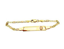 Children's Babies 10k Tri Gold Valentino link ID Bracelet 5.5 in With Guadalupe