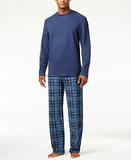 $110 CLUB ROOM Men's PAJAMA SET Fleece SHIRT PANTS Blue Plaid LOUNGE SLEEPWEAR L