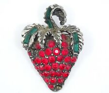 VINTAGE Signed PELL GREEN BAGUETTE & RED RHINESTONE JEWELED STRABERRY BROOCH