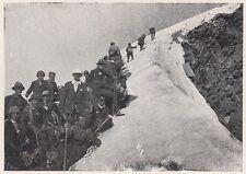 D2030 Escursione sulla salita al Mont Gélé - Stampa d'epoca - 1923 vintage print