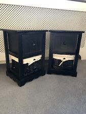 2 x Black Bedside Tables With Wicker Storage Baskets Bedroom Furniture Cabinet