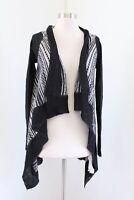 Zara Knit Black Gray Geometric Striped Draped Cardigan Sweater Mohair Size M