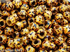 100Pcs Big Hole Light Wood Animal Print Leopard Patterned Round Beads 10mm
