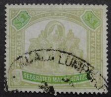 Federated Malay States 1922-32 Wmk MSCA Malaya Indian Elephants $1 - 1v Used