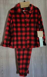 Karen Neuburger Minky Red Buffalo Check Pajamas Christmas NEW Unisex Kids XS 4/5