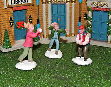 SNOWBALL FIGHT! SET OF THREE (3) FIGURINE 1:24 (G) SCALE DIORAMA