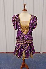 Custom Purple Gold  Dress Show Girl Cabaret Show Prom**FREE SHIPPING!!