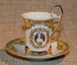 PL2-14) Porzellan alte Sammeltasse Mokka Tasse Mokkatasse Adelsbild Dekor gelb