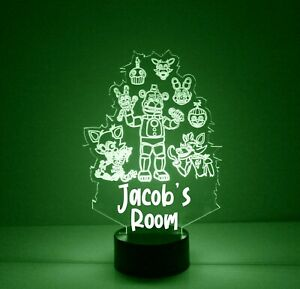 Friday at Freddy's LED Night Light, with Remote Control, Engraved Kids Light