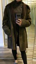 Genuine shearling coat lightweight sheepskin jacket fur olive green / brown L