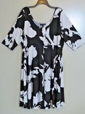 NWT Lane Bryant Black & White Paintbrush Stroke Trapeze Dress Size 18/20