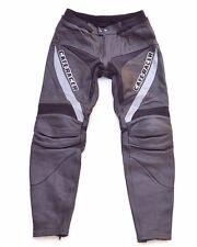 Men's Vintage LOUIS High Waist Black Thick 100% Leather Armour Trousers W37 L33