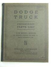 1938 Dodge Truck Preliminary Parts List Catalog Book Original OEM D4452