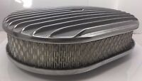 """12"""" Oval Finned Air Cleaner - Classic Polished Aluminum Nostalgia Chevy Ford"""