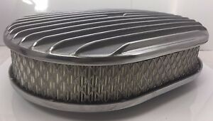 "12"" Oval Finned Air Cleaner - Classic Polished Aluminum Nostalgia Chevy Ford"
