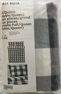 IKEA Emmie Ruta QUEEN Full Duvet Cover w Pillowcases Set DARK GRAY Buffalo Check
