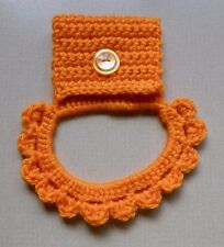 Handmade 1 Large Crocheted Towel Holder in Orange It Buttons Over Oven Handle