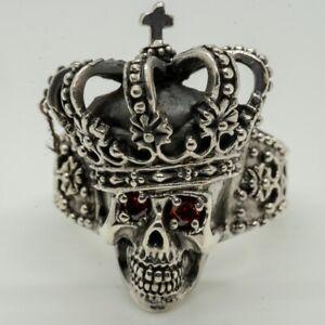 Skull King 925 silver ring Pirate Skeleton Royal Biker Rock Jester Joker Punk