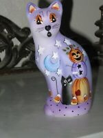 FENTON GLASS HP WHIMSICAL HALLOWEEN PUMPKIN MAN STYLIZED CAT FIGURINE LE #14/20
