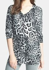 Nwt $99 Michael Kors Fremont Leopard Print V-Neck Sweater Pullover Top Gray P/M